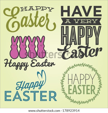 Happy Easter Vector Set | Happy Easter Marshmallow Bunnies | Have A Very Happy Easter | Happy Easter Script  - stock vector