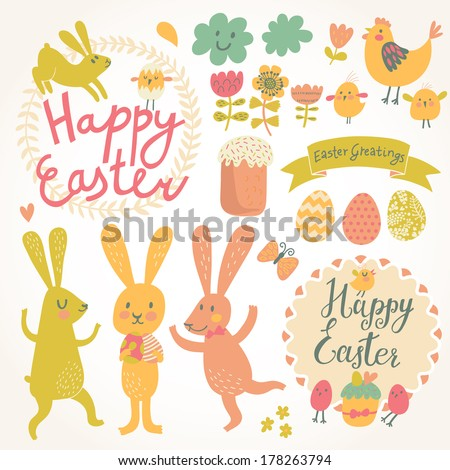 Happy easter vector set in vector. Cute rabbits, eggs, chicken, text, tasty cake in stylish colors. Concept holiday spring cartoon collection - stock vector