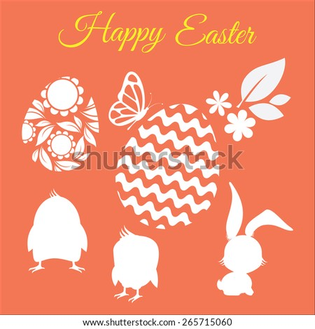 Happy easter vector set with silhouettes of chickens, rabbit, flower, leaf and eggs - stock vector