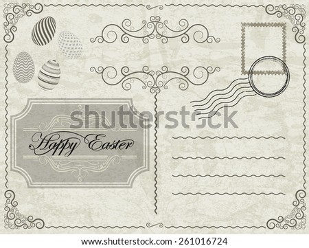 Happy Easter Vector Vintage Postcard with Stamps, Postmark, Label, Easter Eggs and Retro Decorative Border Frames . - stock vector