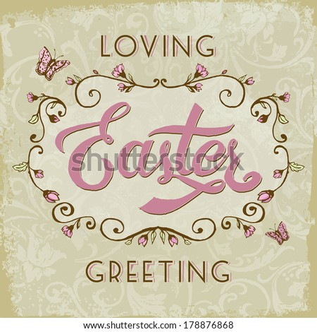 Happy Easter! Vintage style Easter greeting card.
