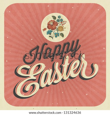 Happy easter vintage style easter greeting stock vector 2018 happy easter vintage style easter greeting card retro easter postcard hand lettering style m4hsunfo Images
