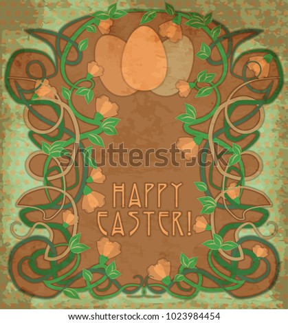 Happy Easter wallpaper in art nouveau style, vector illustration