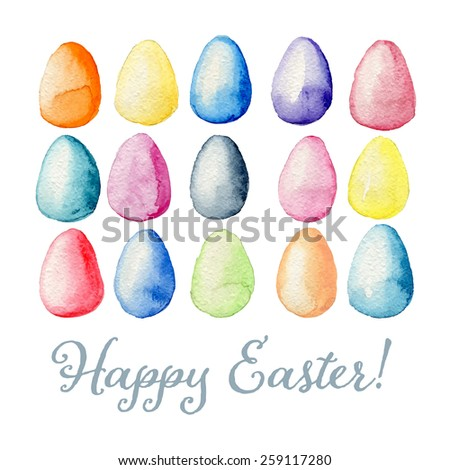 Happy Easter watercolor greeting card with multicolored eggs background. Hand drawn vectorized, eps10 - stock vector