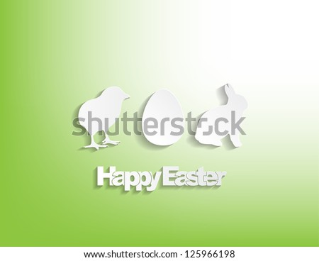 Happy Easter with a bunny, egg and a chicken sticker on a green background. - stock vector