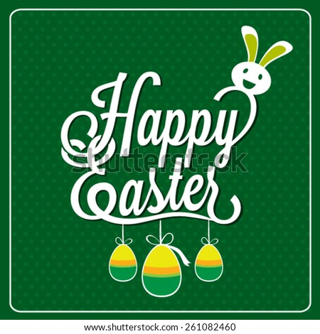Happy Easter with bunny Typographical Design  - stock vector