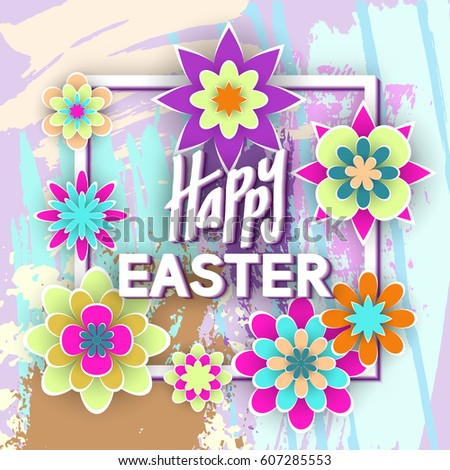 Happy easter paper flowers invitation card stock photo photo happy easter with paper flowers for invitation card design stock vector illustration stopboris Image collections