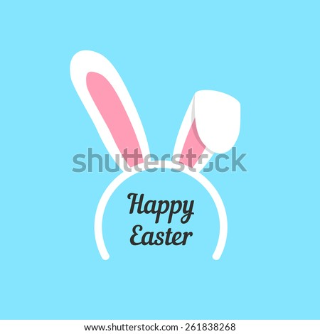 happy easter with rabbit ears mask. concept of children wear, graphic template, tradition, retro art, jackrabbit. isolated on blue background. flat style trendy modern logo design vector illustration - stock vector