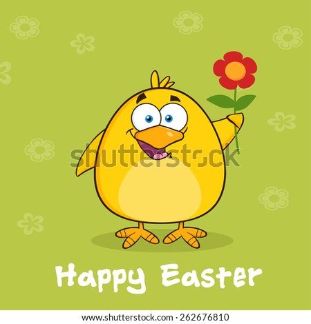 Happy Easter With Yellow Chick Cartoon Character With A Red Daisy Flower. Vector Illustration With Background - stock vector