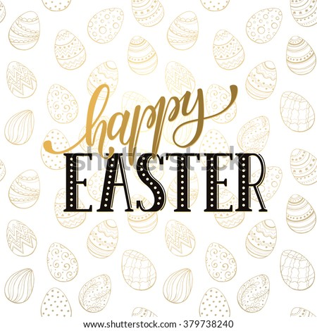 Hand Written Easter Phrases Greeting Card Stock Vector