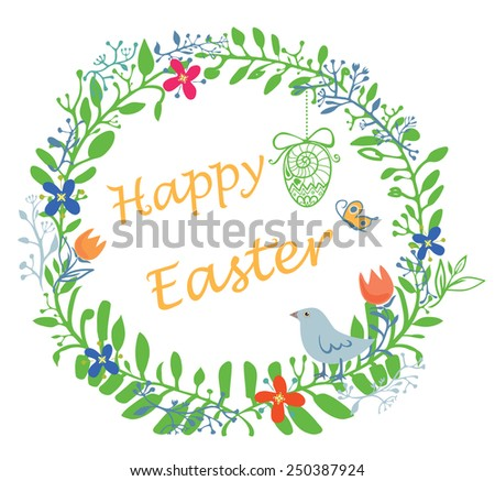 Happy Easter wreath - stock vector
