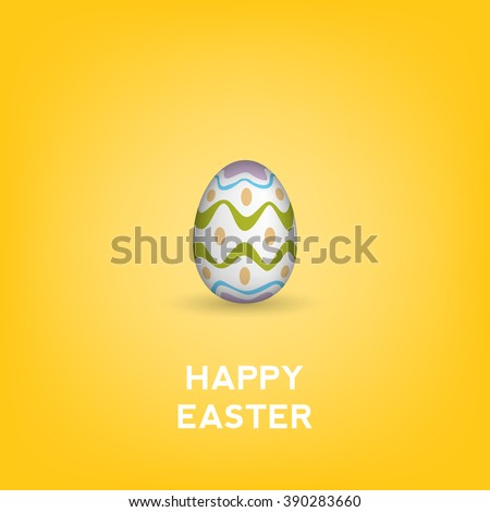 Happy Easter Yellow Gift Card - stock vector