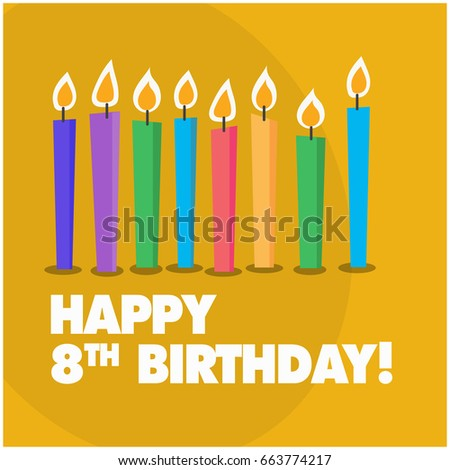 Happy Eighth Birthday With Eight Candles Cute Design