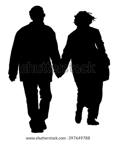 Happy elderly seniors couple vector. Black silhouette together on white background.  - stock vector
