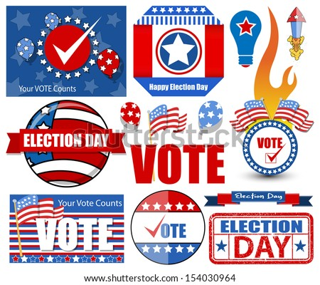 Happy Election Day Vector Illustration Set - stock vector