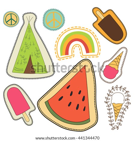 happy embroidery colorful patches collection. vector set illustration for stickers, patches, magnets, greeting card decoration. - stock vector