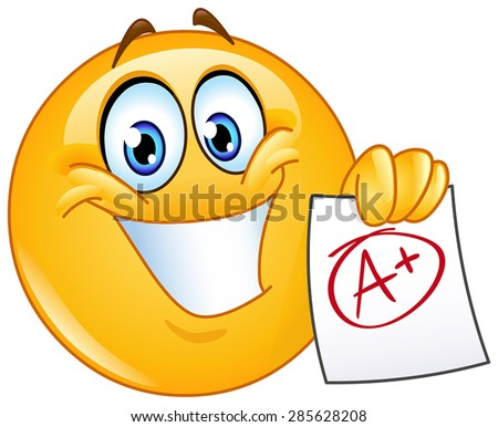 Happy emoticon showing a paper with perfect grade a plus  - stock vector