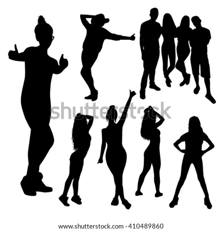 happy emotional friendly people silhouettes isolated on white background