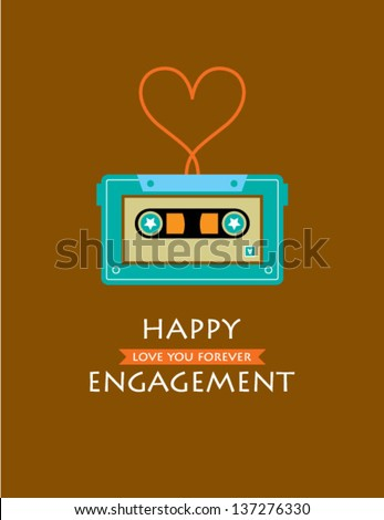 happy engagement cassette card
