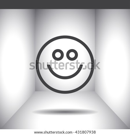 Happy face line vector icon. Smiling face vector icon. Positive happy face sign. Happiness and cheerful symbol.
