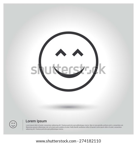 happy face smiley icon, Flat pictograph Icon design gray background. Vector illustration. - stock vector