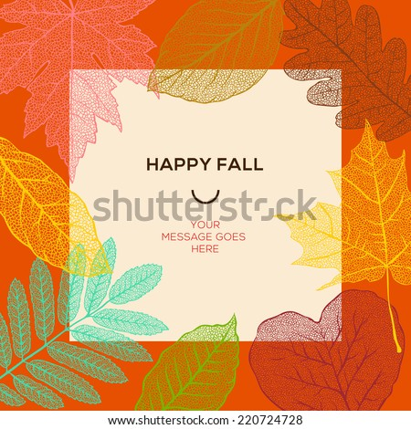 Happy fall template with autumn dry leaves and simple text, vector illustration.  - stock vector