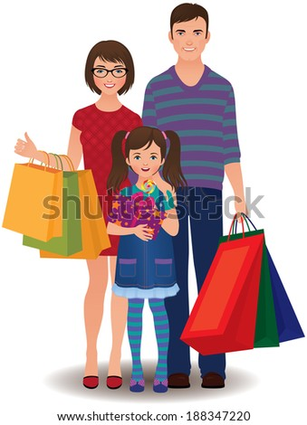 Happy family and children shopping/Family shopping/Stock illustration happy family and children shopping - stock vector