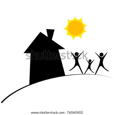 Happy family and home. Conceptual vector illustration - stock vector