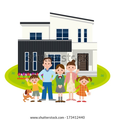 Happy Family and My Home - stock vector