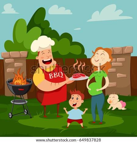 Happy Family Barbecue Party Vector Cartoon Stock Vector - Backyard bbq party cartoon
