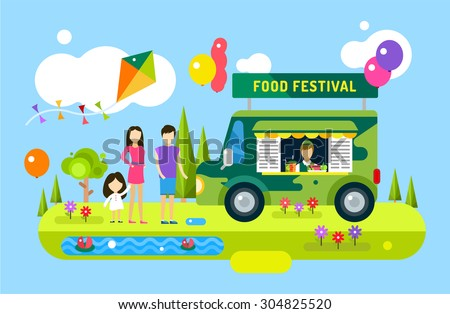 Happy family birthday. Holiday weekend summer time background with balloons. Food festival. Food car, fast food restaurant, man silhouette, woman, girl, family party, happy people, summertime.  - stock vector
