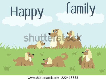 Happy family card with fluffy dog and her puppies with long flowing hair in a meadow, cute vector illustration of dog family, family idyll - stock vector