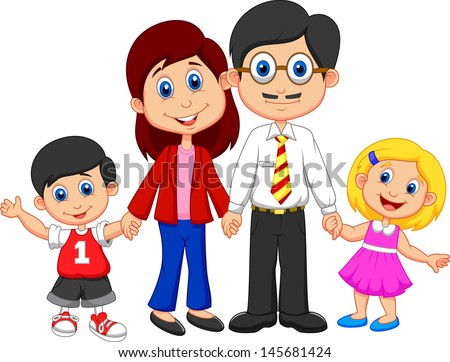 Happy family cartoon - stock vector
