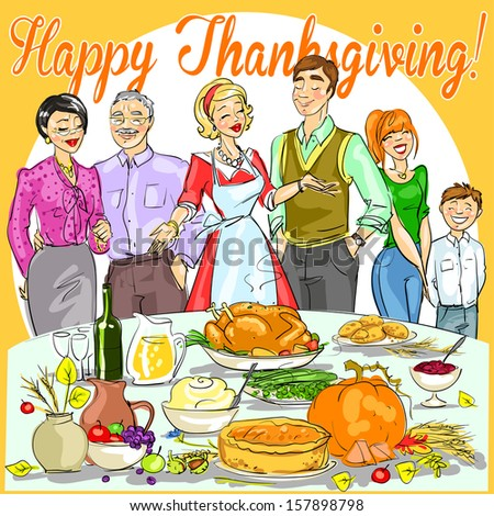 Happy Family Celebrating Thanksgiving Day