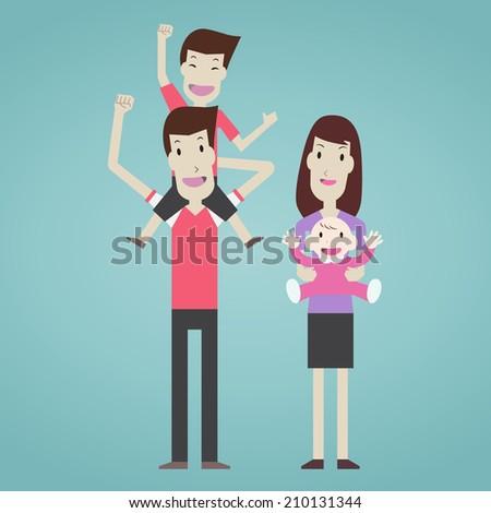 Happy family character - Vector  - stock vector