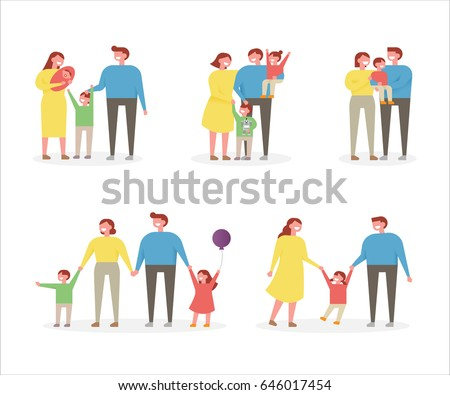 happy family character vector illustration flat design