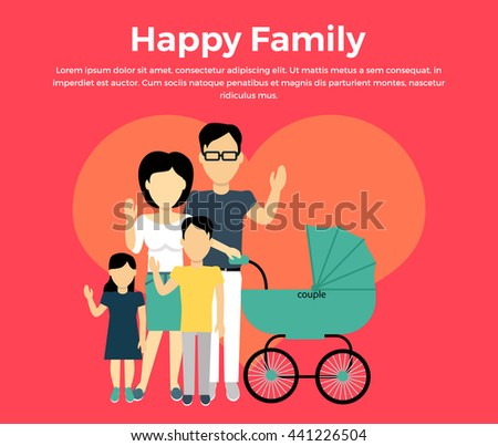 Happy family concept banner design flat style. Young family man and a woman with a son and daughter and a stroller for a newborn.