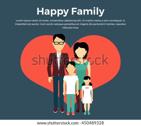 Happy family concept banner design flat style. Young family man and a woman with a son and daughter. Mother and father with child happiness lifestyle, vector illustration - stock vector