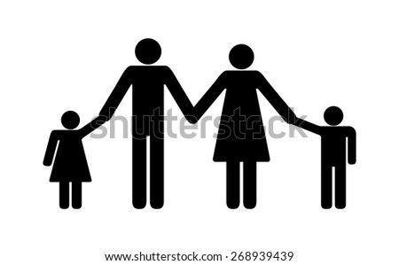 Happy Family Concept Sign Black Silhouette Stock Vector 268939439