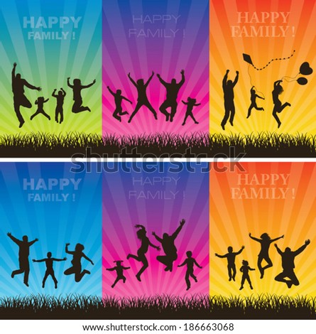 Happy family conceptual backgrounds. Set. - stock vector