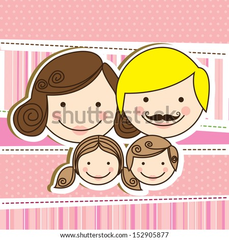 happy family design over pink background vector illustration