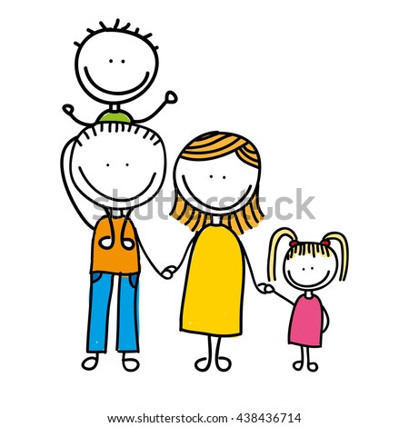 happy family drawing isolated icon design - stock vector