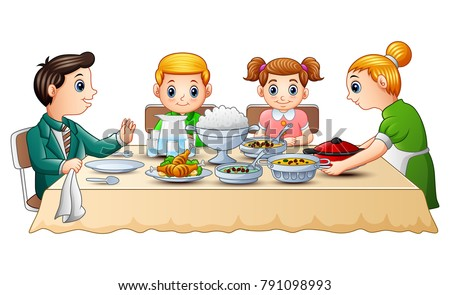 Happy Family Eating Dinner Together On Dining Table