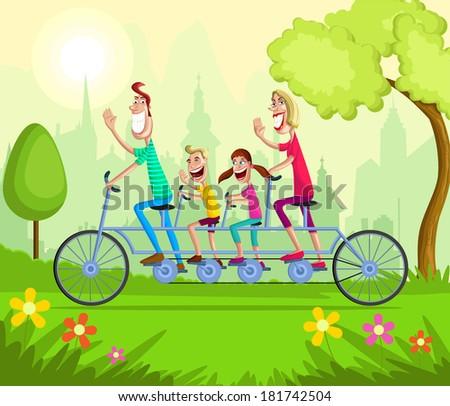 Happy family enjoying tandem bicycle ride - stock vector