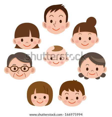 Happy family everyone smile - stock vector