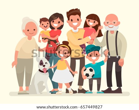Happy family. Father, mother, grandfather,grandmother, children and pet. Vector illustration in a flat style