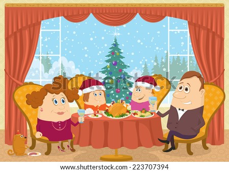 Happy family, father, mother, son and daughter, sitting at home near the table and celebrating Christmas with view on fir tree, holiday background cartoon. Eps10, contains transparencies. Vector - stock vector