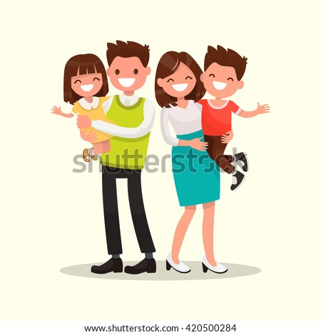 Happy family. Father, mother, son and daughter together. Vector illustration of a flat design - stock vector