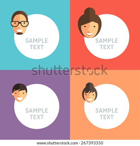 Happy Family. Father, Mother, Son and Daughter with Speech Bubbles - stock vector