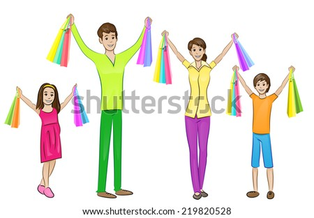 Happy family four people with shopping bags, parents with two children, vector illustration - stock vector